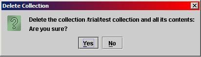 Collection Delete Confirmation Dialog