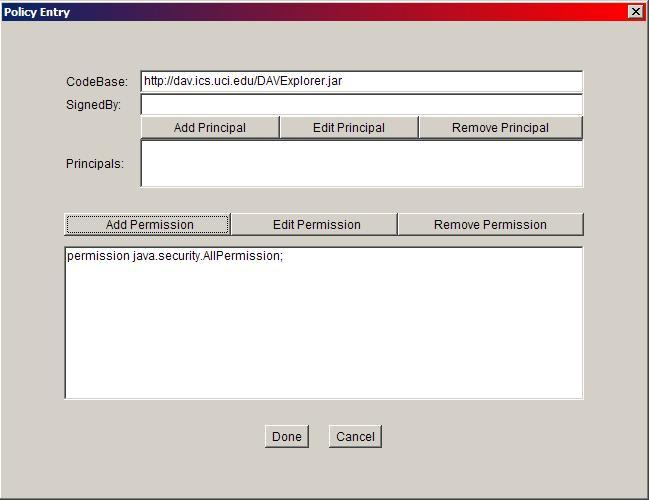 Policy Tool Permissions Window